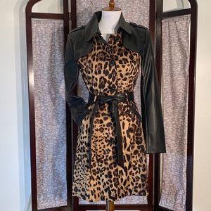 Fate black leather and leopard print rain coat.